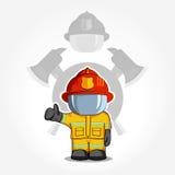 Иллюстрация вектора нарисованная рукой Изолированный пожарный характера в защитном костюме стоит и поднимает его палец вверх Дым  Стоковая Фотография