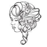 Иллюстрация вектора нарисованная рукой молодой дамы Стоковое Изображение