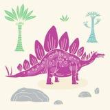 Иллюстрация вектора нарисованная рукой с милым динозавром doodle шаржа Стоковое Изображение RF