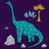 Иллюстрация вектора нарисованная рукой с милым динозавром doodle шаржа Стоковые Изображения RF