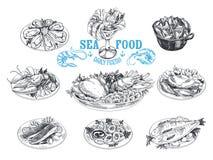 Иллюстрация вектора нарисованная рукой с морепродуктами Стоковая Фотография