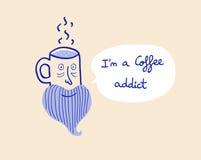 Иллюстрация вектора наркомана кофе Стоковое Фото