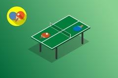 Иллюстрация вектора настольного тенниса пингпонга зеленая Стоковые Изображения