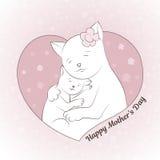 Иллюстрация вектора на день ` s матери Кот и котенок обнимают Милое изображение Совершенно соответствующий для украшения  Стоковое Фото