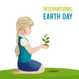 Иллюстрация вектора на международный день земли Девушка засаживает дерево Стоковое Фото