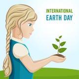 Иллюстрация вектора на международный день земли Девушка засаживает дерево Стоковые Фотографии RF