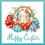 Иллюстрация вектора на праздник пасхи Кролик в корзине с цветками и яичками Стоковое фото RF