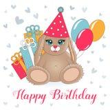 Иллюстрация вектора на праздник Славный заяц в клобуке окруженном шариками и подарками Поздравительная открытка для дня рождения Стоковое фото RF