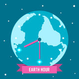 Иллюстрация вектора на час земли Изобразите часы с руками среди звезд Стоковые Изображения RF