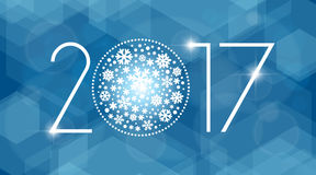 Иллюстрация вектора Нового Года 2017 с белыми снежинками Стоковые Изображения