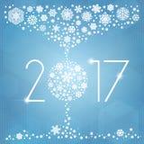 Иллюстрация вектора Нового Года 2017 с белыми снежинками Стоковые Изображения RF