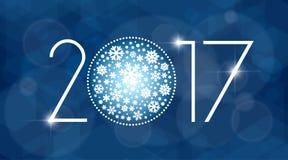 Иллюстрация вектора Нового Года 2017 с белыми снежинками Стоковое Изображение RF