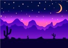 Иллюстрация вектора ночи предпосылки параллакса пустыни Стоковые Фотографии RF