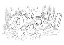 Иллюстрация вектора дня Мирового океана, белая предпосылка стоковая фотография rf