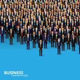 Иллюстрация вектора общины дела или политики толпа бизнесменов или политиков нося костюмы и связи Стоковая Фотография RF