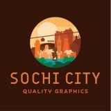 Иллюстрация вектора логотипа города Сочи зданий и ориентир ориентиров Стоковая Фотография