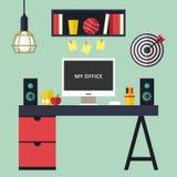 Иллюстрация вектора домашнего офиса плоская внутренняя Стоковая Фотография