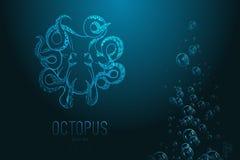 Иллюстрация вектора оригинала близкая поднимающая вверх осьминога нарисованного рукой Стоковое Фото