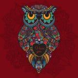 Иллюстрация вектора орнаментального сыча Птица проиллюстрированная в племенном Сыч Boho с влюбленностью Сердце на день валентинки Стоковые Фотографии RF