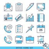 Иллюстрация вектора офиса установленная значками Стоковая Фотография RF