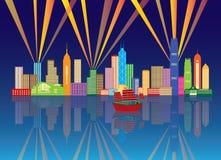 Иллюстрация вектора панорамы цвета ночи горизонта города Гонконга Стоковая Фотография RF