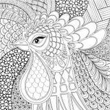Иллюстрация вектора петуха Zentangle Символ 2017 Новых Годов han Стоковые Изображения RF