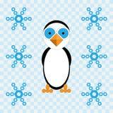 Иллюстрация вектора пингвина и снежинок Стоковые Фото