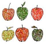 Иллюстрация вектора покрашенная с декоративными яблоками Стоковая Фотография RF