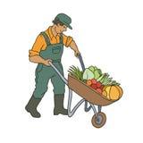 Иллюстрация вектора покрашенная эскизом фермера Человек с овощами тележки Сбор осени садовничая вычерченная чара шаржа контура Стоковое Фото