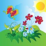 Иллюстрация вектора полей цветка солнца Стоковые Изображения