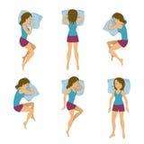 Иллюстрация вектора положений спать женщин Представления сна женщины в кровать Стоковые Изображения RF