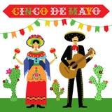 Иллюстрация вектора праздника Cinco de Mayo мексиканская Стоковая Фотография