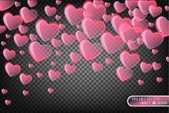 Иллюстрация вектора праздничная падая красных сердец Стоковая Фотография