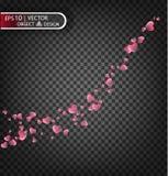 Иллюстрация вектора праздничная падая красных сердец Стоковые Фотографии RF