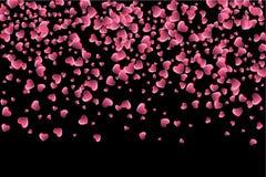Иллюстрация вектора праздничная падая красных сердец Стоковые Изображения