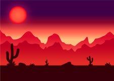 Иллюстрация вектора предпосылки параллакса пустыни Стоковые Фото