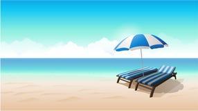Иллюстрация вектора предпосылки пляжа ландшафта Стоковые Фотографии RF