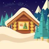Иллюстрация вектора предпосылки Рожденственской ночи с домом и Санта Клаусом Стоковое Изображение
