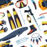 Иллюстрация вектора предпосылки Spearfishing Стоковые Изображения