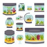 Иллюстрация вектора прозрачного аквариума внутренняя изолированная на шаре садка для рыбы белого дома среды обитания подводном Стоковые Изображения