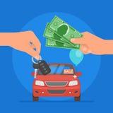 Иллюстрация вектора продажи автомобиля Автомобиль клиента покупая от концепции торговца Продавец давая ключ к новому владельцу Стоковые Фотографии RF