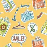 Иллюстрация вектора продажи и покупок безшовная Стоковое фото RF