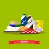 Иллюстрация вектора продуктов питания молокозавода в плоском дизайне стиля Здоровый плакат фермы иллюстрация вектора