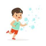 Иллюстрация вектора пузырей прелестного мальчика дуя бесплатная иллюстрация