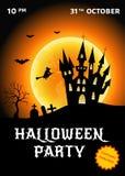 Иллюстрация вектора плаката партии хеллоуина с замком, witc Стоковая Фотография