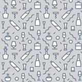 Иллюстрация вектора плана картины бутылки бара безшовного для дизайна, вебсайта, предпосылки, знамени Элемент спирта для Стоковые Фотографии RF