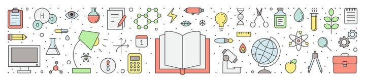 Иллюстрация вектора плана образования и науки горизонтальная Стоковые Фотографии RF