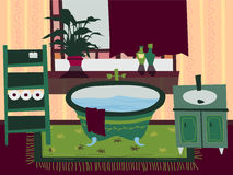 Иллюстрация вектора плоской ванной комнаты шаржа внутренняя Стоковое фото RF