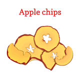 Иллюстрация вектора плодоовощей высушенных яблоками Отрезает обломоки яблока, испеченное очень вкусное изолированные на белой пре бесплатная иллюстрация
