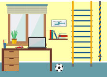 Иллюстрация вектора рабочего места плоская Стоковые Изображения